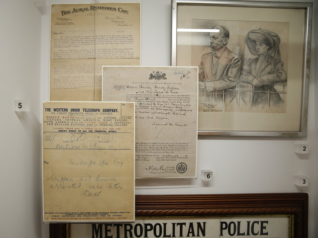 Telegrams and a picture of Harvey Crippen and his accomplice Ethel Neve, which pertain to his capture for the murder of Crippen's wife Cora in 1910, form part of the Crime Museum Uncovered exhibition at the Museum of London in the City of London, Wednesday, October 7, 2015. Crippen was infamous for being the first criminal to be captured with the aid of wireless telegraphy. (Photo by Alastair Grant/AP Photo)