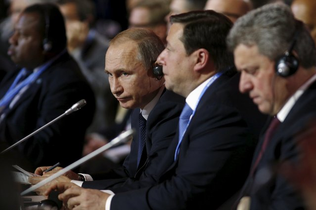 Russian President Vladimir Putin attends the COP21 session of statements by heads of state and government at the climate summit in Paris, France November 30, 2015. (Photo by Kevin Lamarque/Reuters)
