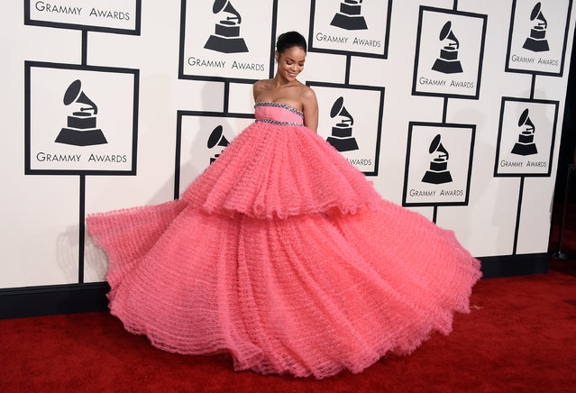 Rihanna arrives at the 57th annual Grammy Awards at the Staples Center on Sunday, February 8, 2015, in Los Angeles. (Photo by Jordan Strauss/Invision/AP Photo)