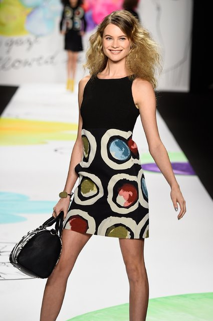 Behati Prinsloo walks the runway at the Desigual fashion show during Mercedes-Benz Fashion Week Fall 2015 at The Theatre at Lincoln Center on February 12, 2015 in New York City. (Photo by Frazer Harrison/Getty Images for Mercedes-Benz Fashion Week)