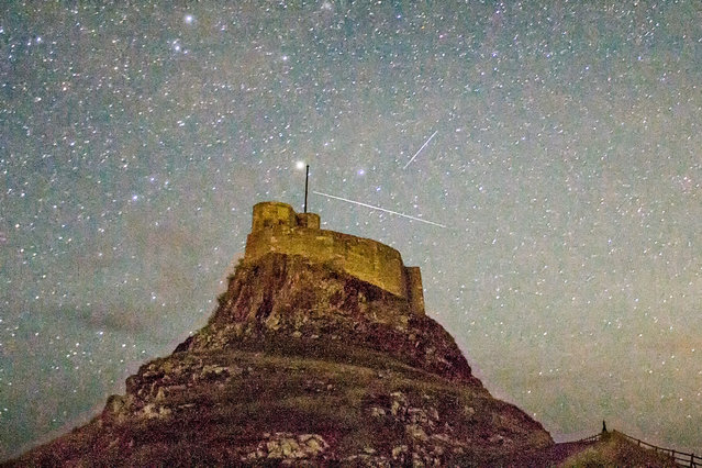 Picture shows the Perseid Meteors shower by the Holy Island of Lindisfarne,Northumberland on August 9th 2016. (Photo by Alec Jones/Geoff Robinson Photography)
