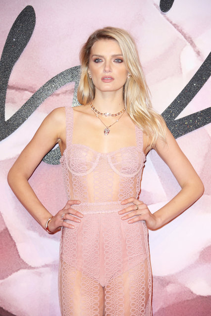 Model Lily Donaldson poses for photographers upon arrival at the Fashion Awards in London, Monday, December 5, 2016. (Photo by Joel Ryan/Invision/AP Photo)