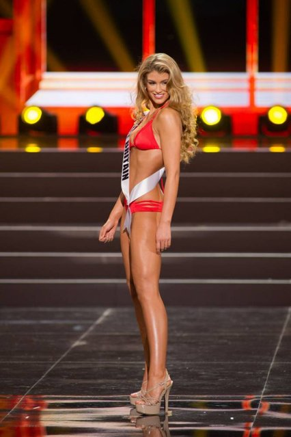 This photo provided by the Miss Universe Organization shows Amy Willerton, Miss Great Britain 2013, competes in the swimsuit competition during the Preliminary Competition at Crocus City Hall, Moscow, on November 5, 2013. (Photo by Darren Decker/AFP Photo)