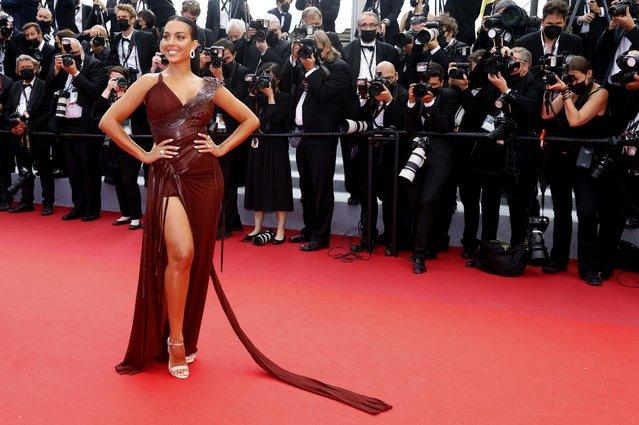 """Argentinian model Georgina Rodriguez arrives for the screening of the film """"France"""" at the 74th edition of the Cannes Film Festival in Cannes, southern France, on July 15, 2021. (Photo by Eric Gaillard/Reuters)"""