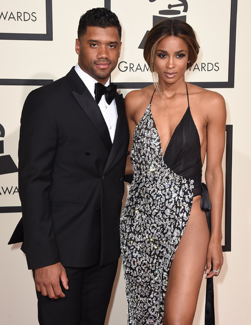 Russell Wilson, left, and Ciara arrive at the 58th annual Grammy Awards at the Staples Center on Monday, February 15, 2016, in Los Angeles. (Photo by Jordan Strauss/Invision/AP Photo)
