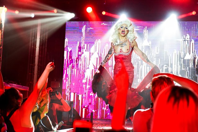 """Drag Queen, Rify Royalty, performs during drag extravaganza """"Bushwig"""" that was cancelled last year due to the coronavirus disease (COVID-19) pandemic in New York City, New York, U.S., September 12, 2021. (Photo by Stephanie Keith/Reuters)"""