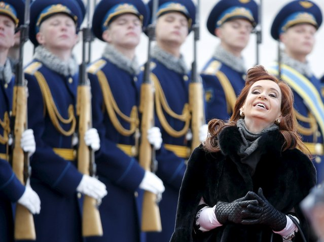 Argentina's President Cristina Fernandez reacts as she inspects the honour guard during a welcoming ceremony upon her arrival at Moscow's Vnukovo airport, April 21, 2015. Fernandez is in Russia for an official visit. (Photo by Maxim Shemetov/Reuters)