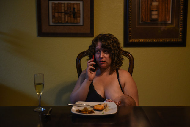 "Lauren Hoffmann, 29, a college program manager, talks on the phone while nursing her son Micah at the dinner table in San Antonio, Texas, U.S., February 6, 2019. Hoffmann only had five and a half weeks of accrued paid time off from her job. ""You're worried about this tiny little new life, you love it so fiercely"", she said. ""Having more time to feel like you're getting good at this ... I think that could only be a good thing"". (Photo by Callaghan O'Hare/Reuters)"