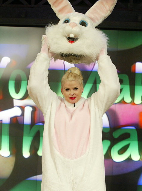 "Former Playboy Playmate Anna Nicole Smith makes a surprise guest appearance as the Easter Bunny on ""The Tonight Show with Jay Leno"" at the NBC Studios on April 17, 2003 in Burbank, California. (Photo by Kevin Winter/Getty Images)"