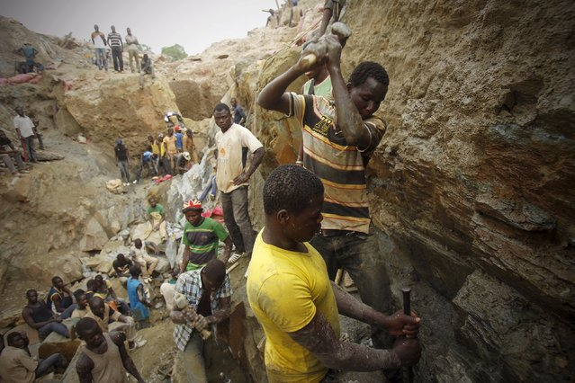 Prospectors search for gold at a gold mine near the village of Gamina, in western Ivory Coast, March 17, 2015. Picture taken March 17, 2015. (Photo by Luc Gnago/Reuters)