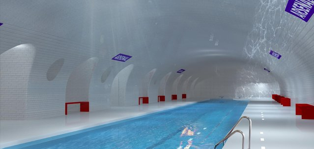 This computer image provided in March 2014 by Laisne Architectes shows an abandoned Paris subway station turned into a swimming pool, part of conservative candidate for Paris Mayor Nathalie Kosciusko-Morizet's, known as NKM, plan to reimagine the city. Paris has 10 abandoned metro stations, mostly unseen as the trains hurtle through their darkened tunnels. NKM has a futuristic plan to transform these stations into public spaces like a swimming pool, performance hall or restaurant. (Photo by AP Photo/Oxo Archiract/Nicolas Laisne Architectes)