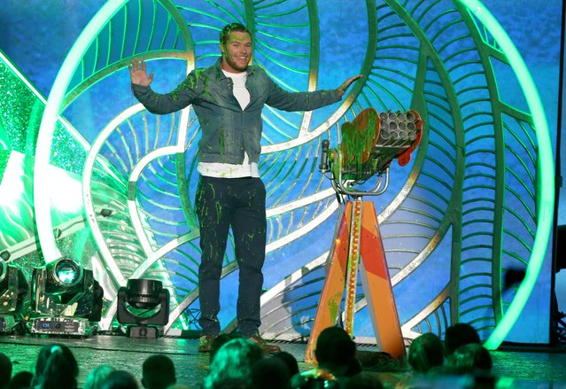 Jack Reynor gets slimed at the 27th annual Kids' Choice Awards at the Galen Center on Saturday, March 29, 2014, in Los Angeles. (Photo by Matt Sayles/Invision/AP Photo)