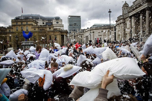 People take part in a giant pillow fight in London. (Photo by Rob Stothard/Getty Images)