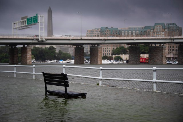 A park bench sits under water in East Potomac Park in Washington, DC on July 8, 2019, after a storm caused flooding. (Photo by Jim Watson/AFP Photo)