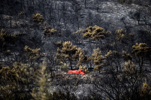 A photo shows a fire truck following a wildfire on Mount Hymittos in the suburb of Peania near Athens on August 12, 2019. Greek firefighters on August 12, 2019 brought under control a major forest fire that was threatening homes on the outskirts of Athens, officials said. At least two houses were burned but there were no reports of injuries as police quickly evacuated the area and blocked roads. (Photo by Angelos Tzortzinis/AFP Photo)