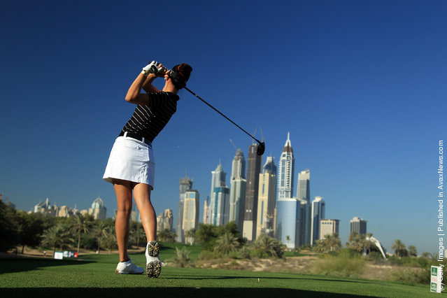 Michelle Wie of the USA tees off at the par 4, 8th hole during the second round of the 2011 Omega Dubai Ladies Masters
