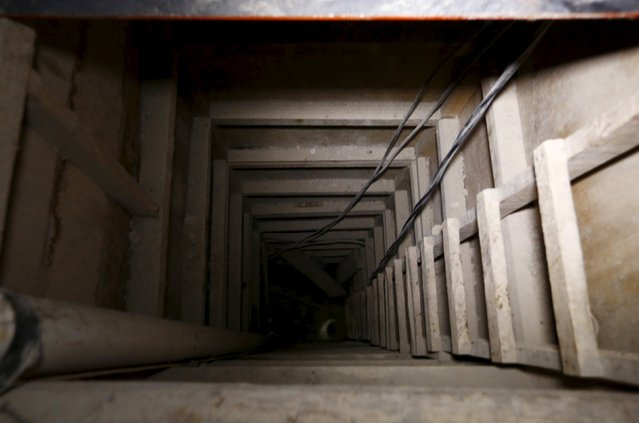 "A view of an opening in a tunnel connected to the Altiplano Federal Penitentiary and used by drug lord Joaquin ""El Chapo"" Guzman to escape, in Almoloya de Juarez, on the outskirts of Mexico City, July 15, 2015. (Photo by Edgard Garrido/Reuters)"