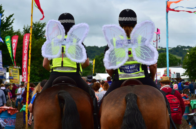 Police woman officers on horseback wearing angel wings trots backstage at Glastonbury Music Festival on June 23, 2016 at Worthy Farm, Glastonbury, England. (Photo by Ben Birchall/PA Wire)