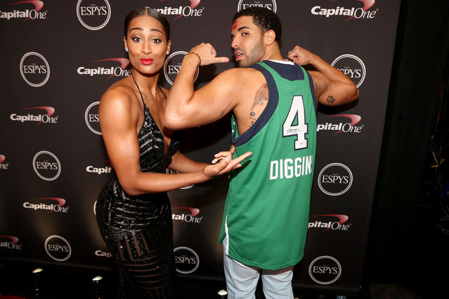 (L-R) WNBA player Skylar Diggins and ESPYs host Drake backstage at The 2014 ESPYS at Nokia Theatre L.A. Live on July 16, 2014 in Los Angeles, California. (Photo by Christopher Polk/Getty Images For ESPYS)