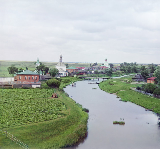 Photos by Sergey Prokudin-Gorsky. View of Suzdal along the Kamenka River. Russia, Vladimir Province, County Suzdal, Suzdal, 1912