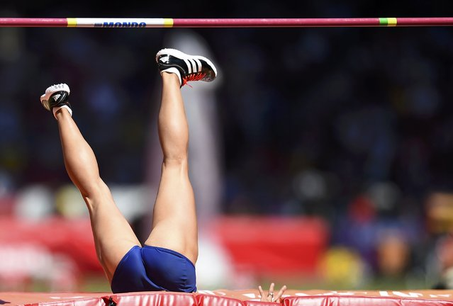 Jessica Ennis-Hill of Britain competes in the high jump event of the women's heptathlon during the 15th IAAF World Championships at the National Stadium in Beijing, China, August 22, 2015. (Photo by Dylan Martinez/Reuters)