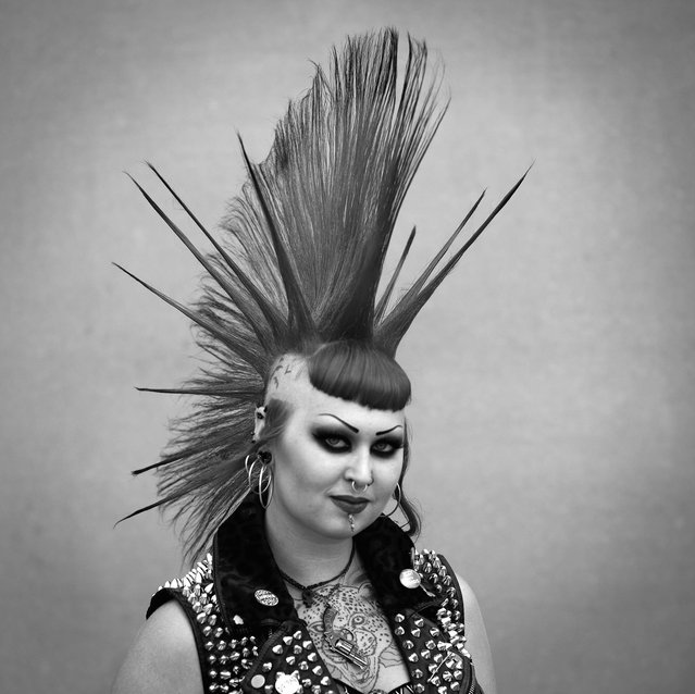 Emily Macgregor poses for a photograph as Punk Rockers gather in Blackpool for the annual Rebellion Punk Rock Festival. (Photo by Christopher Furlong/Getty Images)