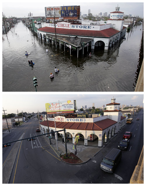 This combination of Aug. 30, 2005 and August 14, 2015 photos shows people wading through floodwaters as they go in and out of the Circle Food Store in New Orleans after Hurricane Katrina, and the grocery store a decade later. (Photo by Dave Martin/Gerald Herbert/AP Photo)