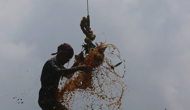"Colored curd spills as Indian youth form a human pyramid and break the ""Dahi handi"", an earthen pot filled with curd hanging above, an integral part of celebrations to mark Janmashtami festival in Mumbai, India, Sunday, September 6. 2015. The festival marks the birth of Hindu god Krishna and the act seeks to reenact the story of Lord Krishna stealing butter during his childhood. (Photo by Rafiq Maqbool/AP Photo)"