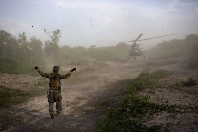 In this September 19, 2014 photo, a Peruvian counternarcotics agent signals to a military helicopter a landing area on a clandestine airstrip in the Valley of the Apurimac, Ene and Mantaro River Valleys, or VRAEM, the world's No. 1 coca-growing region in Junin, Peru. Security forces destroyed in the last two weeks more than 50 clandestine airstrips for drug planes in the biggest offensive that seeks to combat the intense drug airlift to Bolivia. (Photo by Rodrigo Abd/AP Photo)