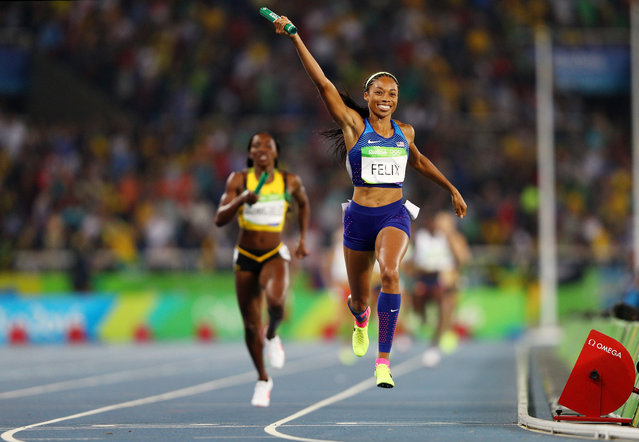 Allyson Felix of the United States reacts after winning gold during the Women's 4 x 400 meter Relay on Day 15 of the Rio 2016 Olympic Games at the Olympic Stadium on August 20, 2016 in Rio de Janeiro, Brazil. (Photo by Ian Walton/Getty Images)