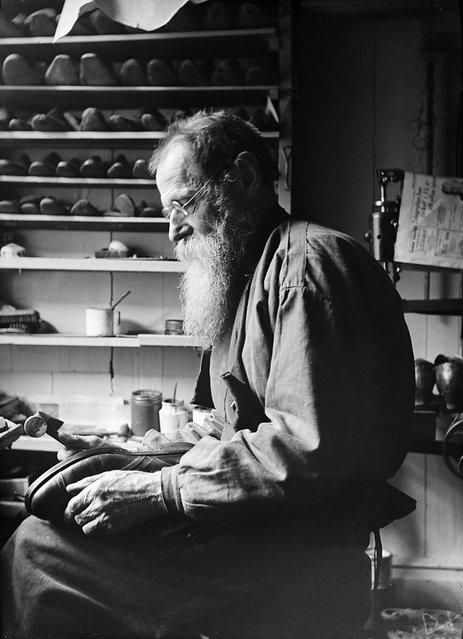 F. A. Sandell, Stockholm, Sweden, 1930s. The shoemaker F. A. Sandell in his workshop. (Photo by Einar Erici)