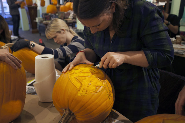 A Ghostbusters pumpkin in progress at Cotton Candy Machine in Brooklyn, N.Y. on October 18, 2014. (Photo by Siemond Chan/Yahoo Finance)