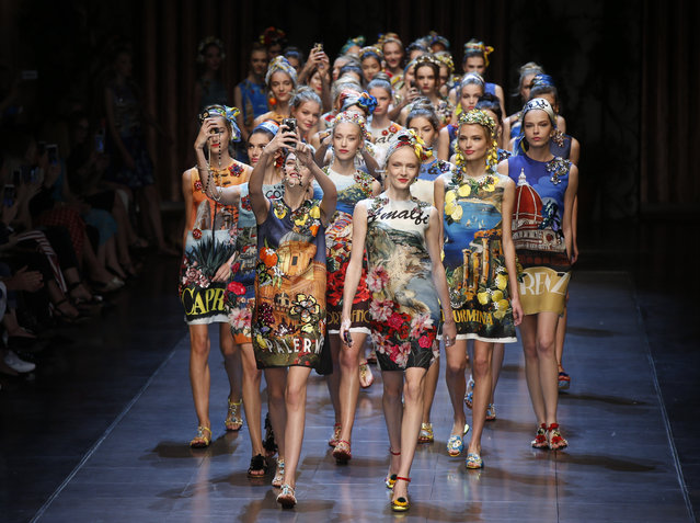 Models wear creations for Dolce&Gabbana women's Spring-Summer 2016 collection, part of the Milan Fashion Week, unveiled in Milan, Italy, Sunday, September 27, 2015. (Photo by Luca Bruno/AP Photo)