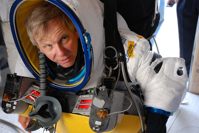 In this October 20, 2014 photo provided by Paragon Space Development Corporation, Google executive Alan Eustace is shown before a test flight for his Friday, October 24, 2014 leap from the edge of space that broke the sound barrier and set several skydiving records over the southern New Mexico desert outside Roswell. (Photo by AP Photo/Paragon Space Development Corporation)