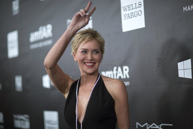 Actress Sharon Stone poses at the amfAR's Fifth Annual Inspiration Gala in Los Angeles, California October 29, 2014. (Photo by Mario Anzuoni/Reuters)
