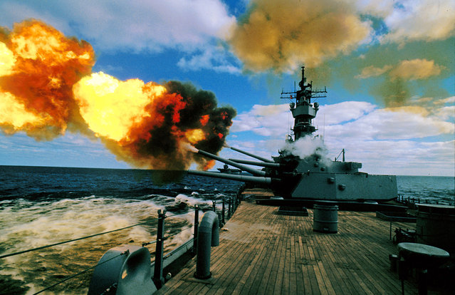 The battleship USS Iowa fires its 16-inch guns during duty in the Persian Gulf on December 16, 1987. In 1943, the Iowa ferried President Franklin Roosevelt home from the Teheran Conference, where post-WW II leaders divided up the world. The ship fought battles from the South Pacific to Korea and escorted convoys through the Persian Gulf. Forty-seven sailors died atop its deck when an explosion ripped through a gun turret. Now, the new port for the retired USS Iowa just might be the home of California's annual asparagus festival, the gritty agriculture port town of Stockton on the San Joaquin River, about 80 miles inland from San Francisco. (Photo by Eric Risberg/AP Photo)