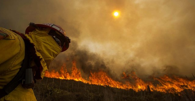 A firefighter watches a wildfire along a hillside in Point Mugu. Firefighters got a break as gusty winds turned into breezes on Friday, but temperatures remained high and humidity levels are expected to soar as cool air moved in from the ocean and the Santa Ana winds retreated. (Photo by Ringo H.W. Chiu/Associated Press)