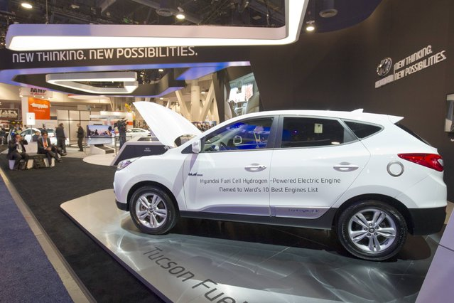 A hydrogen fuel cell vehicle is displayed at the Hyundai booth during the 2015 International Consumer Electronics Show (CES) in Las Vegas, Nevada January 6, 2015. (Photo by Steve Marcus/Reuters)