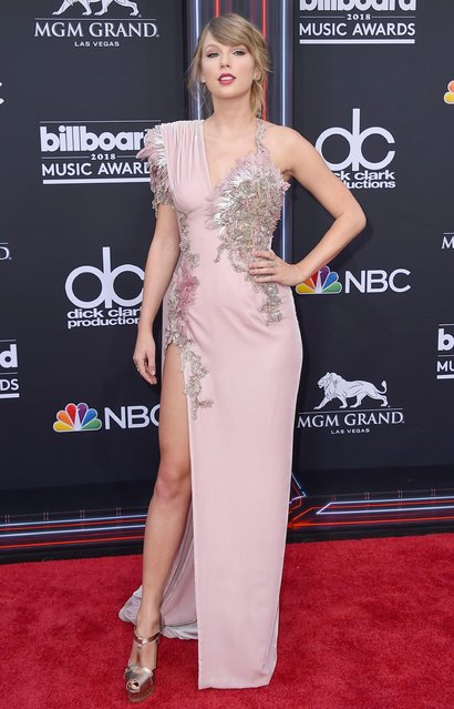 Taylor Swift arrives at the Billboard Music Awards at the MGM Grand Garden Arena on Sunday, May 20, 2018, in Las Vegas. (Photo by Jordan Strauss/Invision/AP Photo)