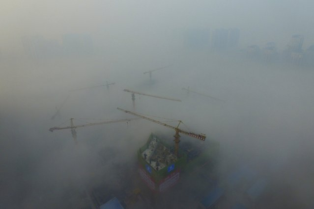 Cranes are seen above a construction site amid heavy fog in Xi'an, Shaanxi province, China, November 29, 2015. (Photo by Reuters/Stringer)