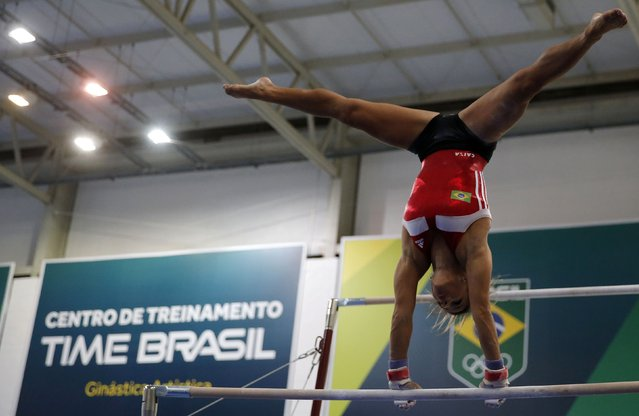 Brazilian gymnast Jade Barbosa performs during a training session at the new Brazilian Artistic Gymnastics Center in Rio de Janeiro January 16, 2015. (Photo by Sergio Moraes/Reuters)