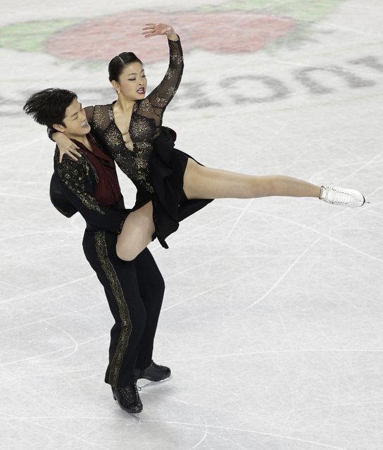 Maia Shibutani and Alex Shibutani perform during the short dance program at the U.S. Figure Skating Championships in Greensboro, N.C., Friday, Jan. 23, 2015. (AP Photo/Chuck Burton)