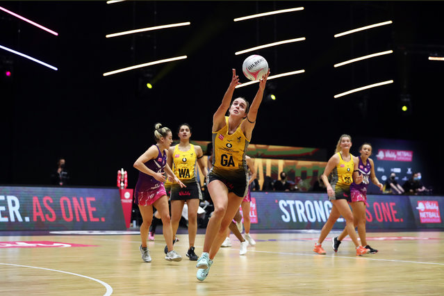 Katie Harris of Wasps Netball jumps for the ball during the match between Loughborough Lightning and Wasps Netball on day four of the Vitality Netball Superleague Season Opener at Studio 001 on February 15, 2021 in Wakefield, England. (Photo by Jan Kruger/Getty Images for Vitality Netball Superleague)