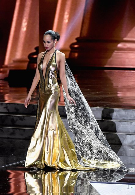 Miss Japan 2015, Ariana Miyamoto, competes in the evening gown competition during the 2015 Miss Universe Pageant at The Axis at Planet Hollywood Resort & Casino on December 20, 2015 in Las Vegas, Nevada. (Photo by Ethan Miller/Getty Images)