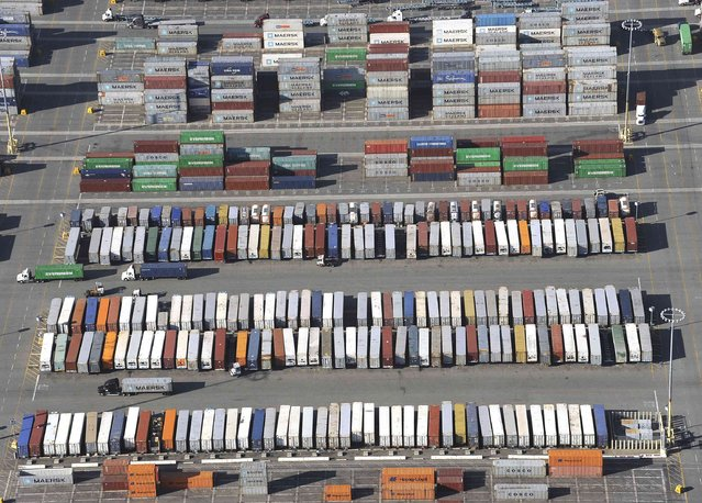 Shipping containers stand in the ports of Los Angeles and Long Beach, California in this aerial photo taken February 6, 2015. (Photo by Bob Riha, Jr./Reuters)