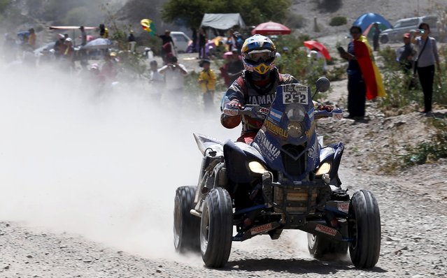 Marcos Patronelli of Argentina rides his Yamaha quad during the fifth stage Jujuy-Uyuni in the Dakar Rally 2016 near Uyuni, Bolivia, January 7, 2016. (Photo by Marcos Brindicci/Reuters)