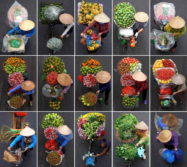 This combination photograph shows vendors carrying various goods for sale on their bicycles in Hanoi on March 18, 2021. (Photo by Manan Vatsyayana/AFP Photo)