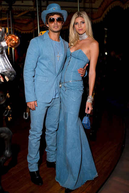 Jonathan Barbara (L) and Devon Windsor attend the V Magazine Halloween Party presented by Chanel at Jane's Carousel on October 26, 2018 in Brooklyn, New York. (Photo by Gotham/Getty Images)