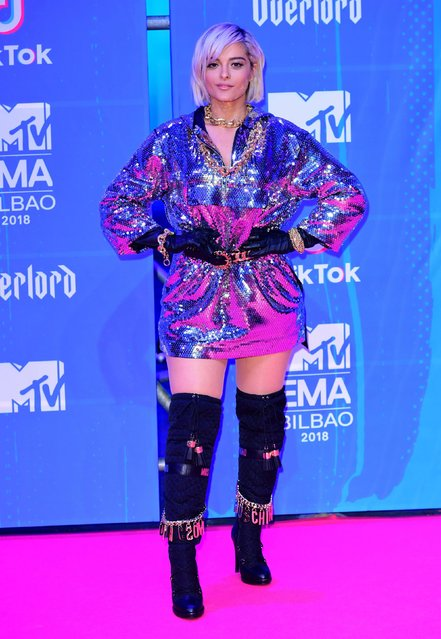 Bebe Rexha attends the MTV EMAs 2018 on November 4, 2018 in Bilbao, Spain. (Photo by PA Wire)