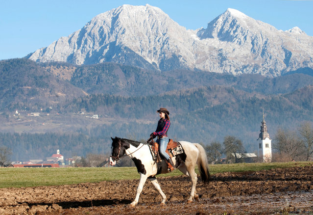 A woman rides her horse to the church to be blessed by priests on St. Stephen's day in Srednja Vas, Slovenia December 26, 2016. (Photo by Srdjan Zivulovic/Reuters)